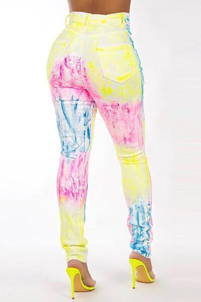 Casual Printed Skinny Multicolor Pants