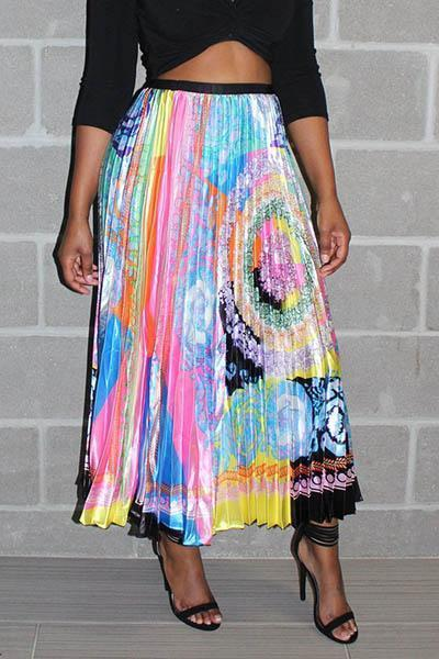 Colorful Printed Pleated Skirt