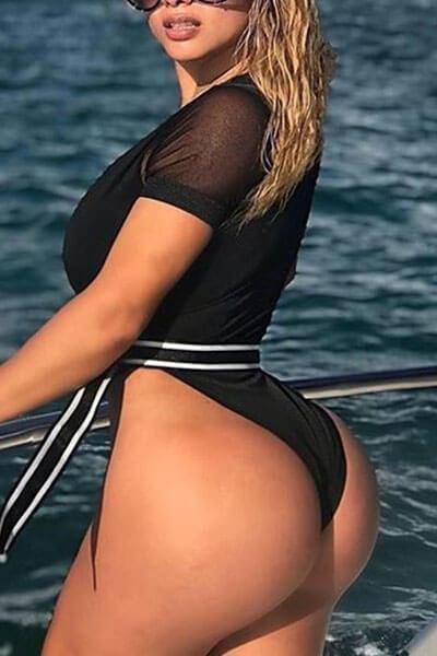 Deep V-tie Bottoming One-Piece Swimsuit