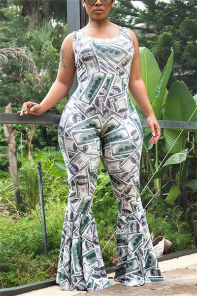 Dollar Printed Flared Pants Jumpsuit