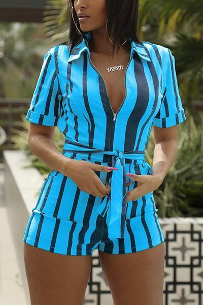 Fashion Striped Printed Romper