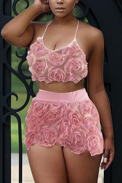 Fashion Sweet Floral  Lace Two-piece Shorts Set