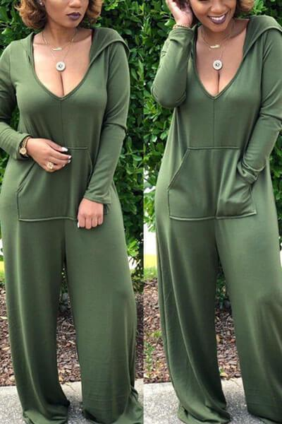 Hooded Collar Pocket Loose Jumpsuit