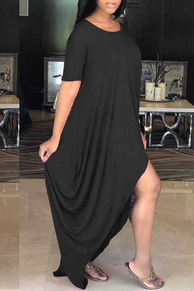 Irregular Design Solid Color Casual Dress