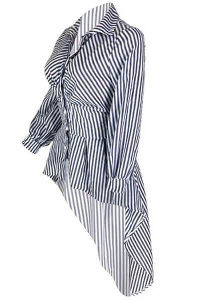 Irregular Hems Striped Cotton Blouses