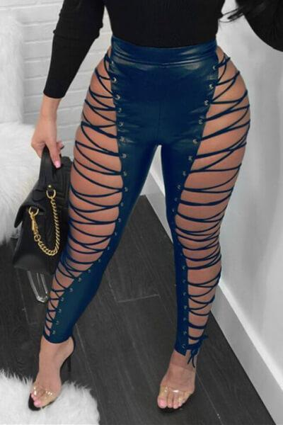 Lace-Up High Waist Leather Pants