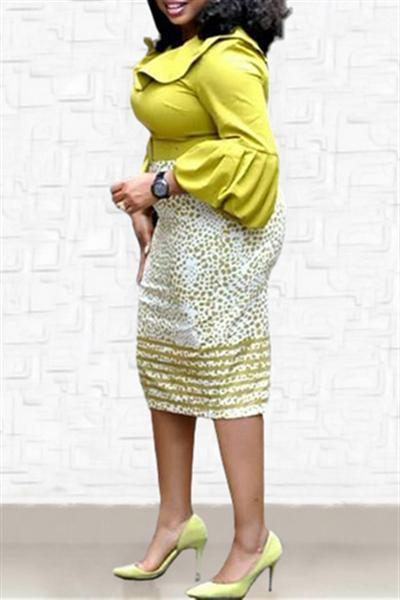 Lantern Sleeve Patchwork Pencil Dress
