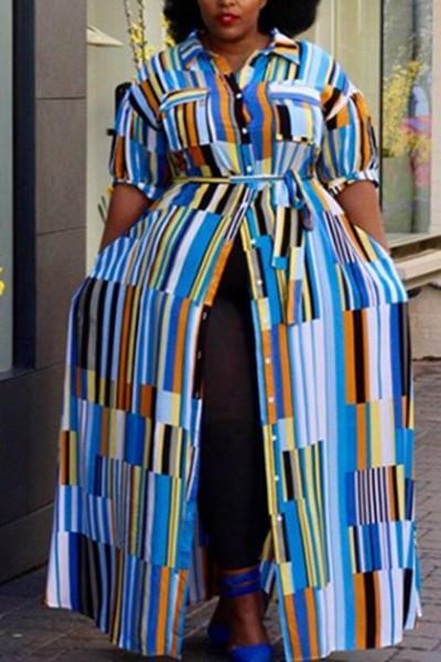 Multicolor Striped Bohemian Maxi Dress
