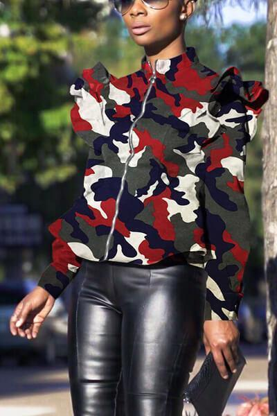 Plus Size Camo Ruffle Shoulder Jacket
