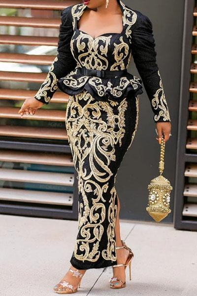 Printing Ankle-Length Split Long Sleeve High Waist Dress