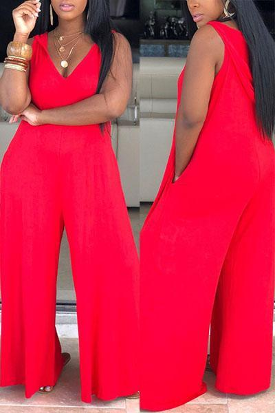 Pure Color V-neck Sleeveless Jumpsuit
