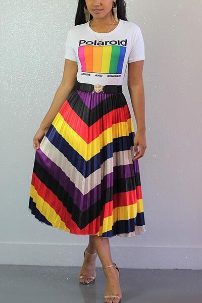 Rainbow Pleated Waist Hem Skirt