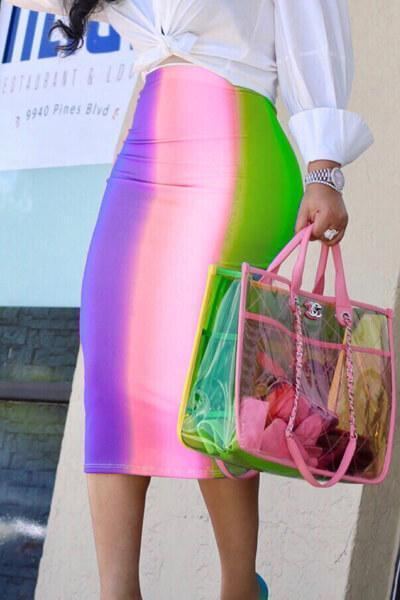 Rainbow Striped Tie Dye Bodycon Pencil Skirt