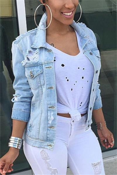 Ripped Fashion Denim Jacket