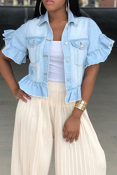 Ruffle Sleeve Pocket Denim Jacket