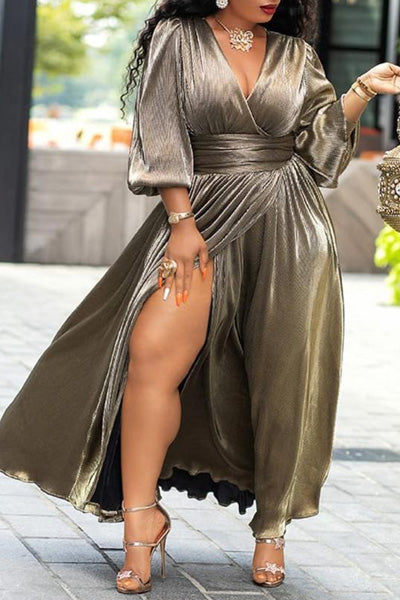 Solid Color V-neck Lantern Sleeve Dress