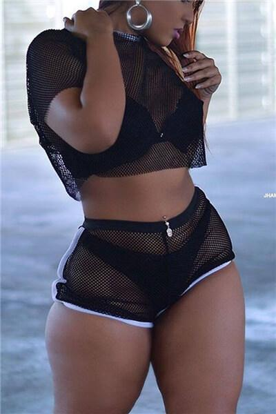 See-Through Gauze Two-piece Shorts Set