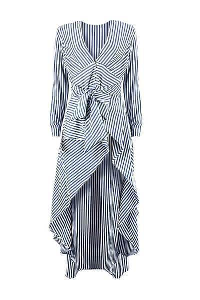 Sexy Deep V Striped Long Sleeve Irregular Dresses