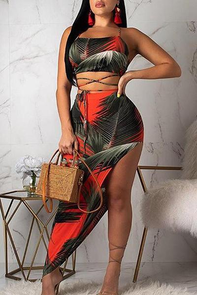 Sexy Printed Asymmetrical Skirt Set