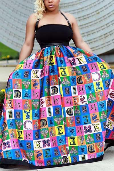 Sexy Printed Patchwork Dress