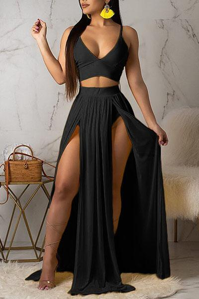 Sexy Strap Split Skirts Set