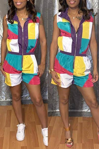 Sleeveless Patchwork Sport Romper