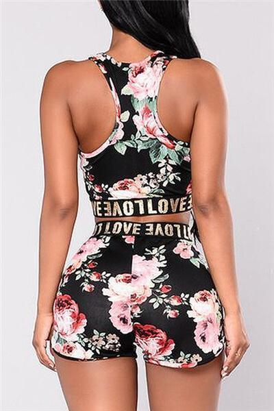 Sleeveless Printed Two Pieces Casual Suit