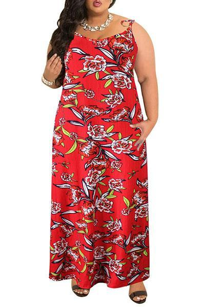 Sling Sleeveless Printed Maxi Dress