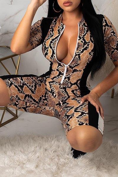 Snake Print Short Sleeve Zip Up Romper