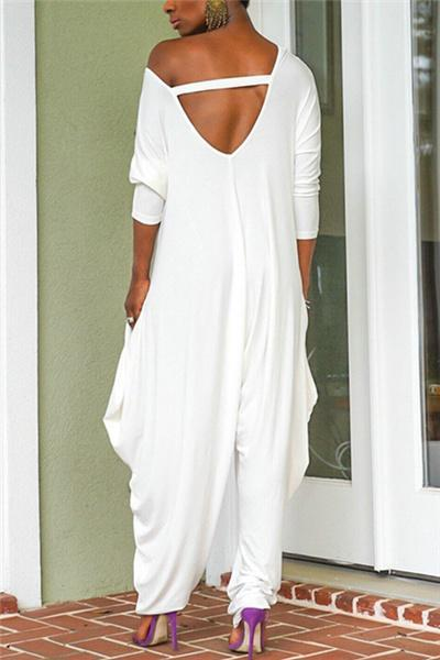 Solid Color Backless Loose Jumpsuit