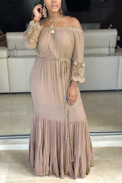 Solid Color Pleated Slash Neck Dress