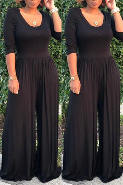 Solid Color Round Neck Jumpsuit