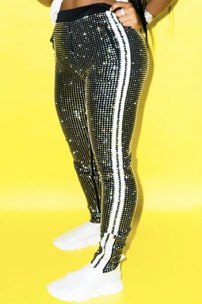 Striped Shining Sequin Pants