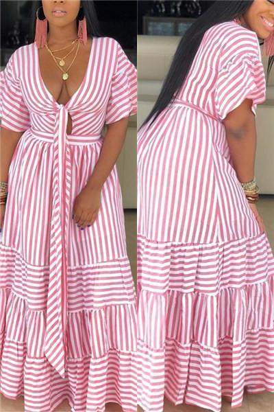 Striped Wrap Hollow Out Maxi Dress