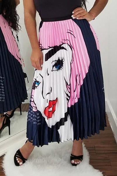 Sweet Portrait Printed Ankle Length Skirts