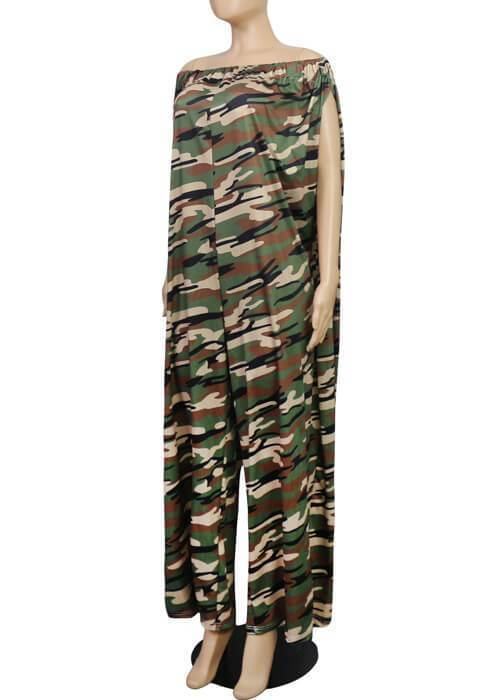 Camouflage Wide Leg One Piece Jumpsuit