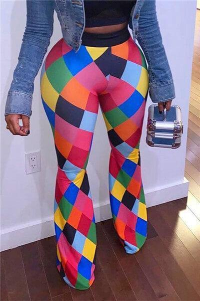 Trendy Color-lump Multicolor Pants