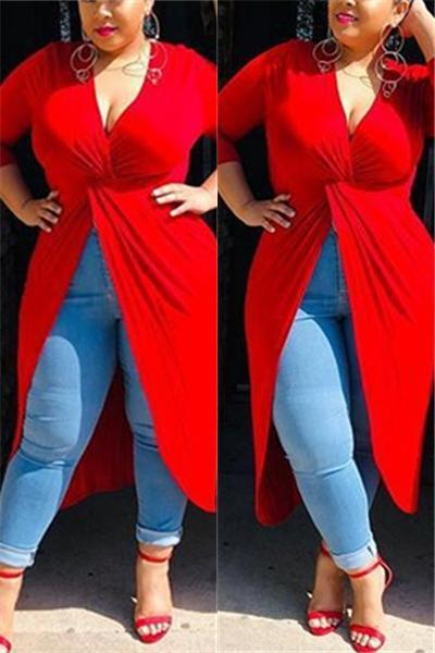 V Neck Split Plus Size Dresses