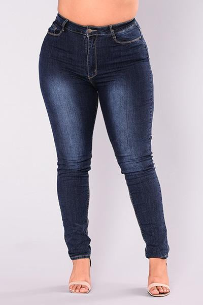 High Waist Stretch Pencil Jeans