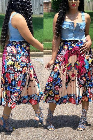 Fashion Printed Pleated Skirt