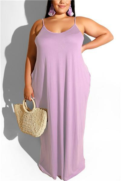Solid Color Plus Size Dress  (with belt)