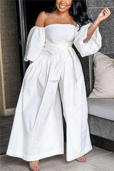 Strapless Lantern Sleeve Wide Jumpsuit