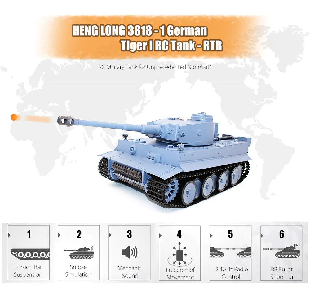Heng Long RC Battle Tank 1/16 2.4G Germany Tiger I Tank