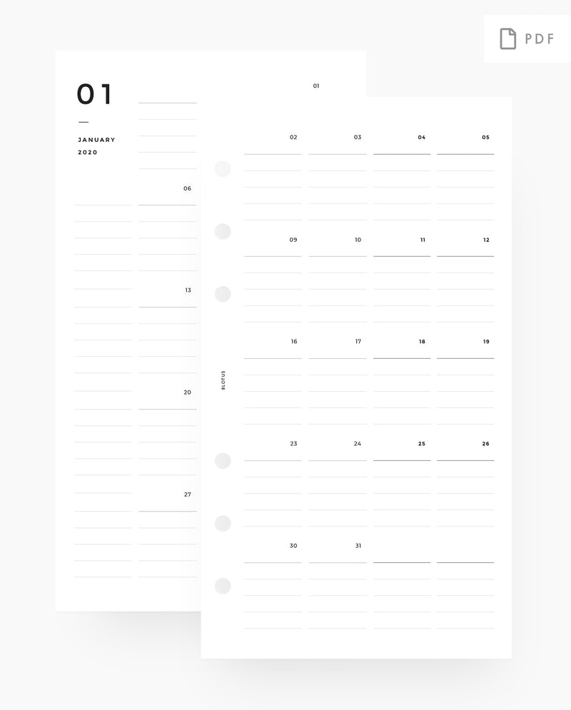 MN060 - 2020 Lined Monthly Planner - MO4P - PDF