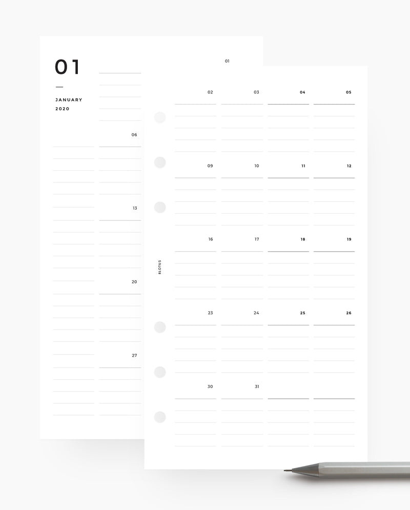 MN060 - 2020 Lined Monthly Planner - Mo4P