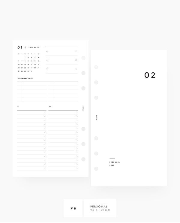 MN016 - 2020 Blank Monthly Planner - MO4P - PDF