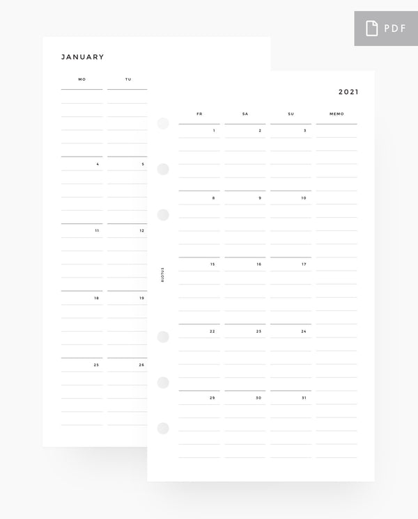 MN016 - 2021 Monthly Planner - PDF