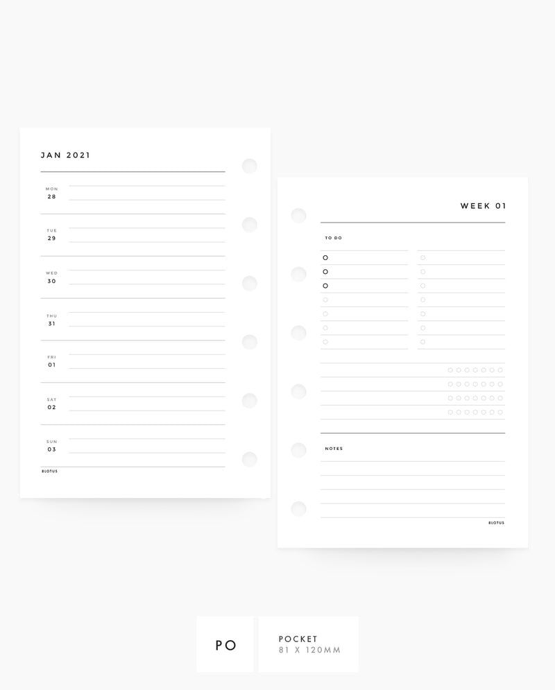 MN075 - 2021 Weekly Planner - Horizontal List, Tracker & Notes