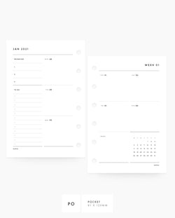 MN088 - 2021 Weekly Planner - Vertical Sectional