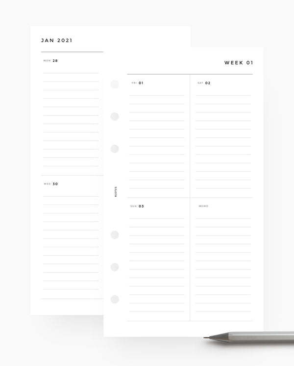 MN015 - 2021 Weekly Planner - Vertical